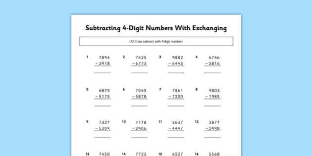 subtracting  digit numbers with exchanging  subtracting  digit  subtracting  digit numbers with exchanging  subtracting  digit numbers  exchanging