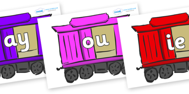 Phase 5 Phonemes on Carriages - Phonemes, phoneme, Phase 5, Phase five, Foundation, Literacy, Letters and Sounds, DfES, display