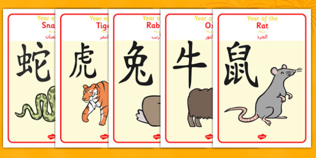 Chinese Year of the Zodiac Animal Display Posters Arabic Translation - arabic, chinese new year, year, zodiac, animal, display, posters
