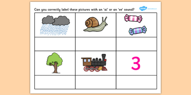 AI or EE Sound Worksheet - worksheets, worksheet, work sheet, sheets, sounds, AI, EE, EE sound, AI sound, sounds and letters, activity, writing frame, filling in, writing activity
