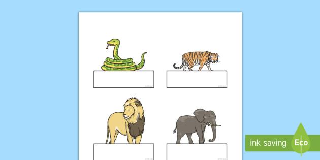 Jungle Animal Themed Self-Registration - walking through the jungle, animals, story, book, Self registration, register, editable, labels, registration, child name label, printable labels, jungle, animal, lion, tiger, elephant, snake monkey, cro