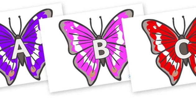 A-Z Alphabet on Emperor Butterflies - A-Z, A4, display, Alphabet frieze, Display letters, Letter posters, A-Z letters, Alphabet flashcards