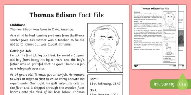Thomas Edison Differentiated Fact File