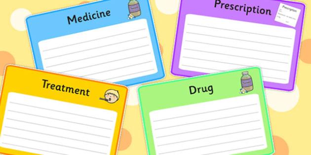 Medicines and Health Blank Word Definition Cards - Medicine, Health