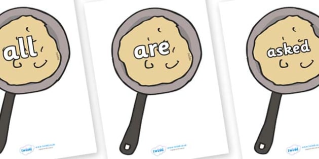 Tricky Words on Pancakes - Tricky words, DfES Letters and Sounds, Letters and sounds, display, words
