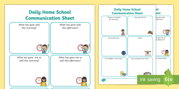 Daily Home School Communication Sheet Primary - Home, School ...