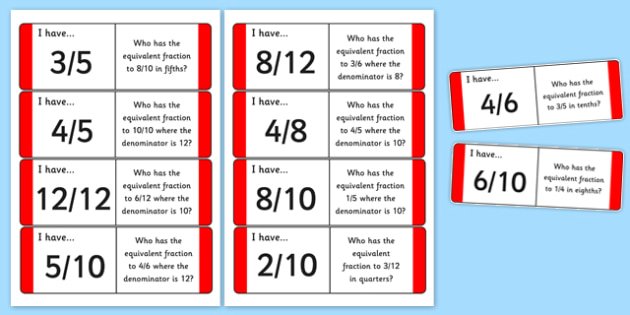 Equivalent Fraction Loop Cards - equivalent, fraction, loop cards