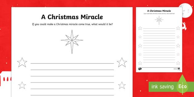 A Christmas Miracle Writing Worksheet / Activity Sheet