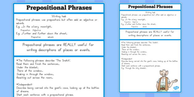 FREE! - Prepositional Phrase Challenge Activity to Support