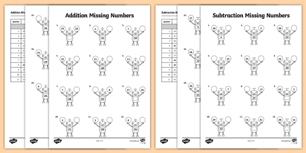 addition and subtraction missing numbers robot themed worksheet. Black Bedroom Furniture Sets. Home Design Ideas