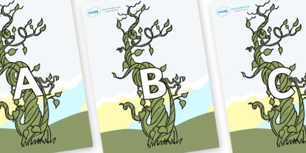A-Z Alphabet on Beanstalks - A-Z, A4, display, Alphabet frieze, Display letters, Letter posters, A-Z letters, Alphabet flashcards