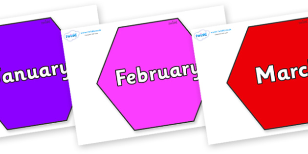 Months of the Year on Hexagons - Months of the Year, Months poster, Months display, display, poster, frieze, Months, month, January, February, March, April, May, June, July, August, September