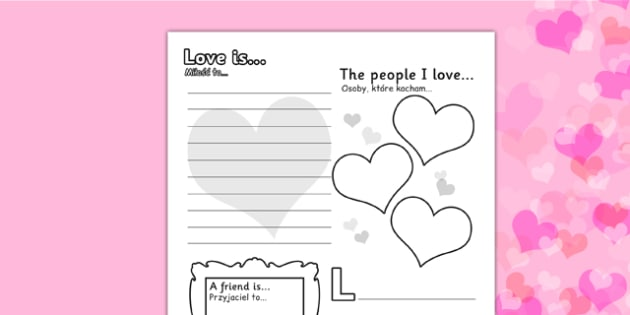 Valentine's Day Worksheet Polish Translation - polish, worksheets, worksheet, work sheet, valentines day, valentines, valentines worksheet, acrostic poem worksheet, people I love worksheet, sheets, activity, writing frame, filling in, writing activit