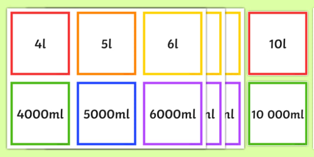 ml l Equivalents Matching Cards - ml, l, equivalents, matching cards, match, cards, millilitres, litres