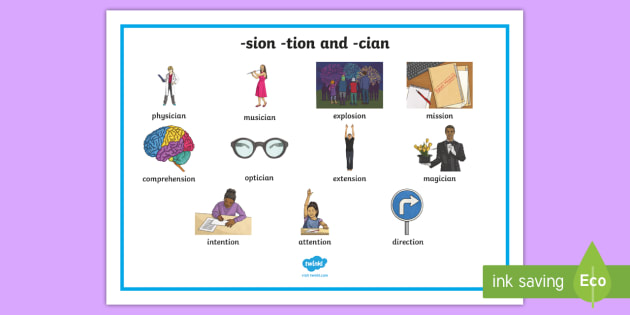 sion, -tion and -cian Word Mat (teacher made)