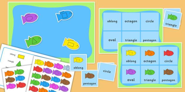 2D Shape and Colour Fishing Bingo Activity - 2d shape, bingo, fishing