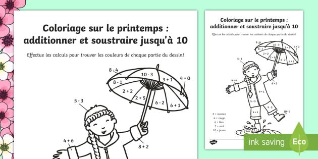 Coloriages Et Additions Le Printemps Teacher Made