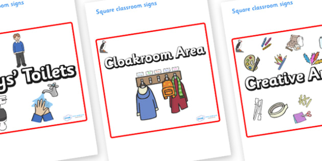 Puffin Themed Editable Square Classroom Area Signs (Plain) - Themed Classroom Area Signs, KS1, Banner, Foundation Stage Area Signs, Classroom labels, Area labels, Area Signs, Classroom Areas, Poster, Display, Areas
