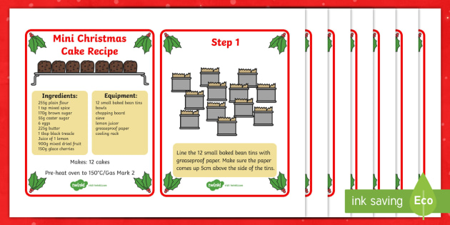 Mini Christmas Cake Recipe Cards