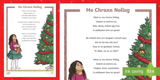 christmas tree poem gaeilge christmas tree christmas nollag crann nollag dn