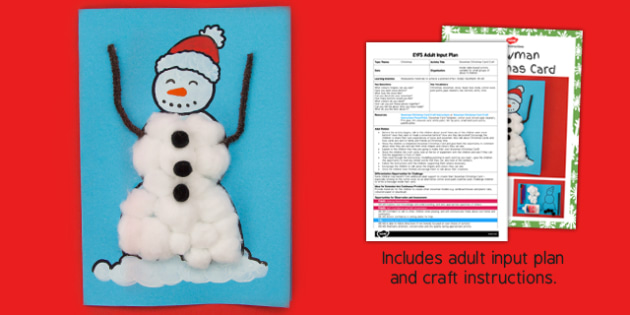 Snowman Christmas Card Craft Adult Input Plan And Resource Pack - snowman, card, christmas