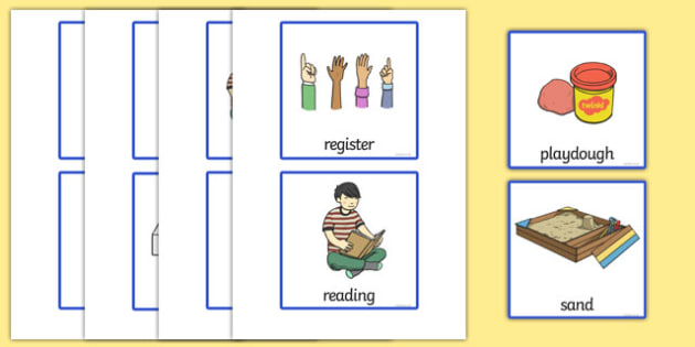 Cards for Vertical Visual Timetables - pictures, SEN, SEND, daily, day