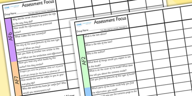 Guided Reading AF Questions Checklists Non-Fiction - assessment focus, guided reading, assessment focus checklist, assessment focus questions, non-fiction