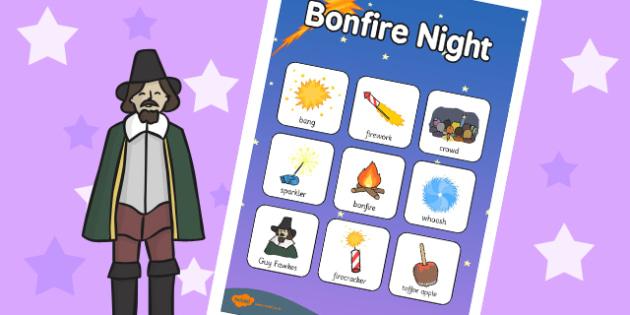 Bonfire Night Vocabulary Poster - vocab poster, festivals, vocab