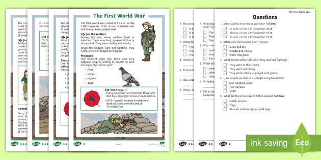 New Ks1 The First World War Differentiated Reading