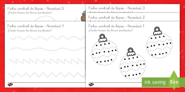Fichas de motricidad fina trazo: La Navidad  - control de lapiz, grafomotricidad, grafemas, motor, motriz, navidad, navideño, Spanish