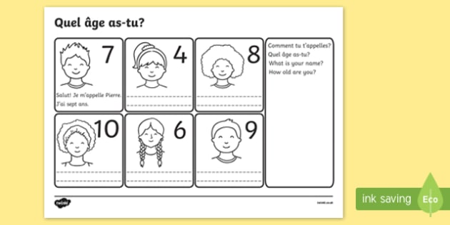 Say Your Age Worksheet - french, france, language, EAL, ourselves