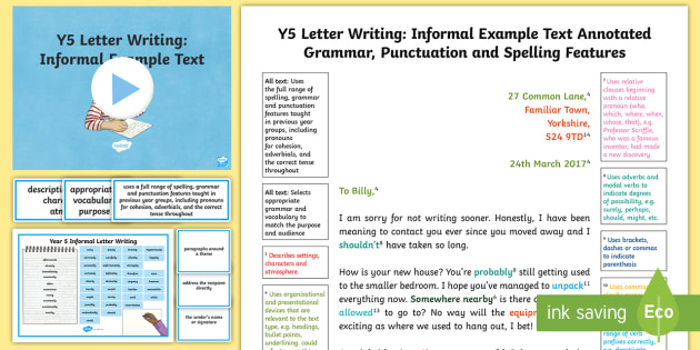 Y5 Letter Writing Informal Model Example Text Example Texts Y5