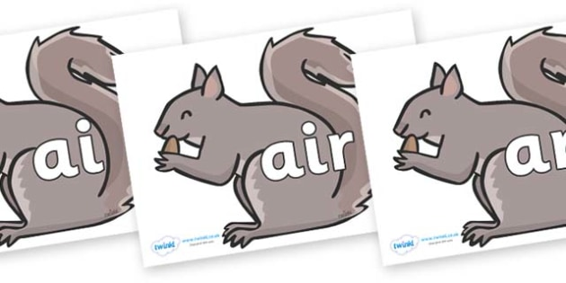 Phase 3 Phonemes on Grey Squirrels - Phonemes, phoneme, Phase 3, Phase three, Foundation, Literacy, Letters and Sounds, DfES, display