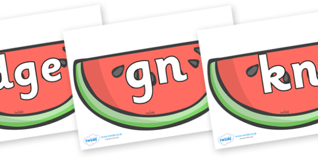 Silent Letters on Watermelons to Support Teaching on The Very Hungry Caterpillar - Silent Letters, silent letter, letter blend, consonant, consonants, digraph, trigraph, A-Z letters, literacy, alphabet, letters, alternative sounds