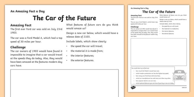 The Car of The Future Activity Sheet, worksheet