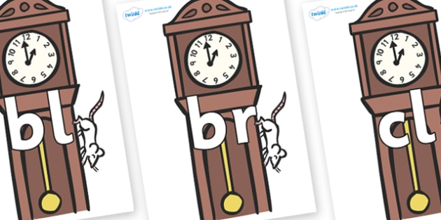 Initial Letter Blends on Clocks - Initial Letters, initial letter, letter blend, letter blends, consonant, consonants, digraph, trigraph, literacy, alphabet, letters, foundation stage literacy
