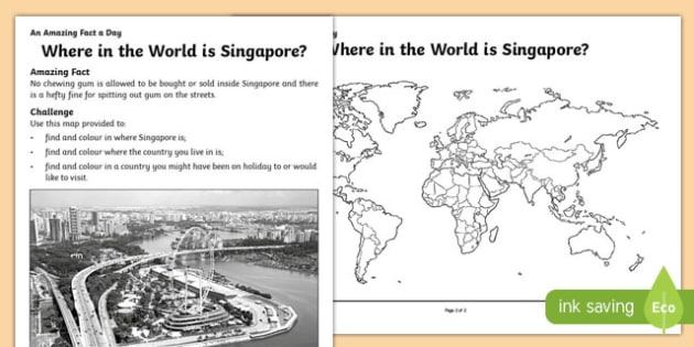 Where in the World is Singapore? Activity Sheet, worksheet