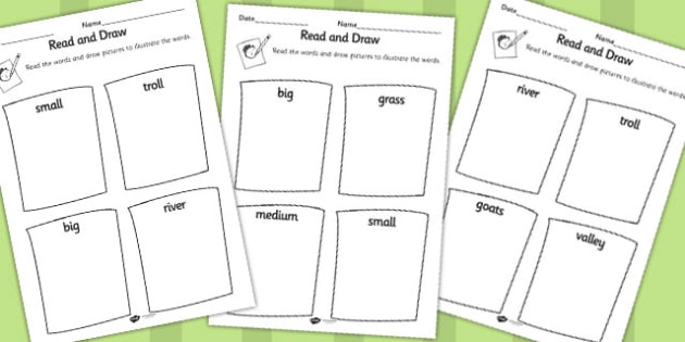The Three Billy Goats Gruff Read and Draw Worksheet - worksheet