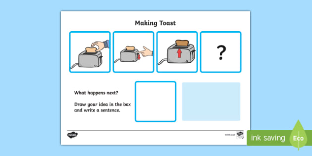 What Happens Next? Fill in the Blank Worksheet for 'Making Toast' - happens, next, make, toast