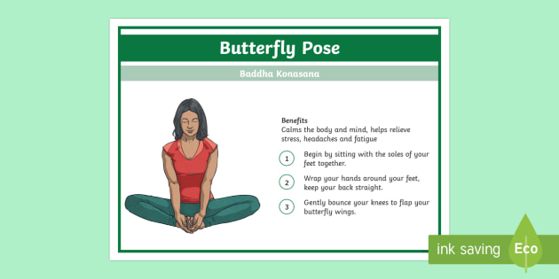 Yoga Butterfly Pose Step-by-Step Instructions - Yoga, health, stress, calm, peace, KS1, KS2, well being, anxiety, work life balance, WLB