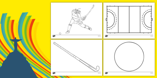 The Olympics Hockey Colouring Sheets - Hockey, Olympics, Olympic Games, sports, Olympic, London, 2012, colouring, fine motor skills, poster, worksheet, vines, A4, display, activity, Olympic torch, events, flag, countries, medal, Olympic Rings, mascot