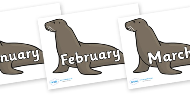 Months of the Year on Sealions - Months of the Year, Months poster, Months display, display, poster, frieze, Months, month, January, February, March, April, May, June, July, August, September