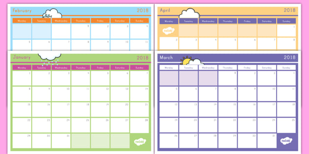 2018 Monthly Calendar Planning Template Class Planner