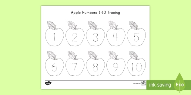 Apple Numbers 1-10 Tracing Activity Easy Download