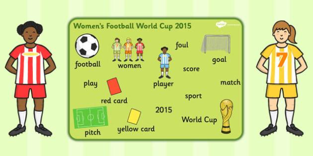 Womens Football World Cup 2015 Word Mat - word mat, football
