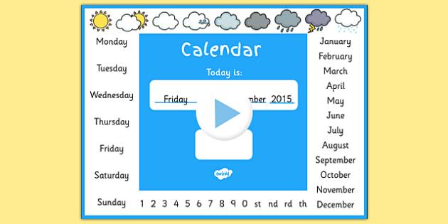 Kindergarten Calendar Powerpoint : Calendar powerpoint dates days months weather