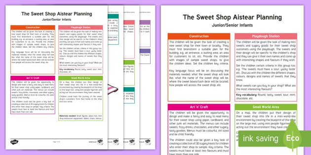 The Sweet Shop Aistear Planning Template - Aistear, Infants, English Oral Language, School, The Garda Station, The Hairdressers, The Airport, T