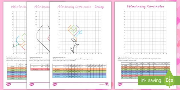 Valentinstag Koordinaten eintragen Arbeitsblätter