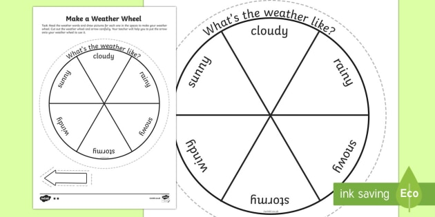 Make A Weather Wheel Worksheet Activity Sheet