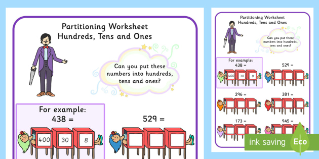 maths magician partitioning worksheet hundreds tens units ones